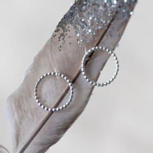 shiny silver circle earrings - main