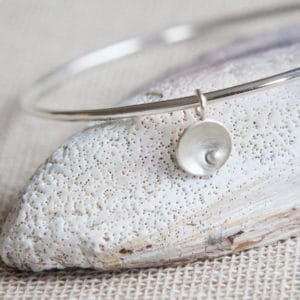 circles and pearls silver charm bangle