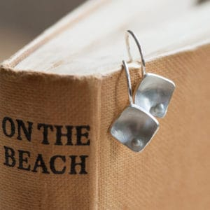 Silver Geometric Drop Earrings - main