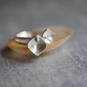 Recycled Silver Square Stacking Rings - main