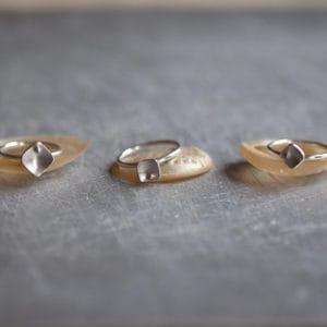 squares silver stacking rings - main