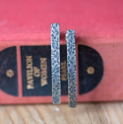 Sterling Silver Long Bar Earrings