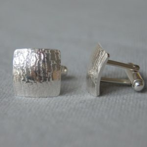 Bark Textured Silver Cufflinks