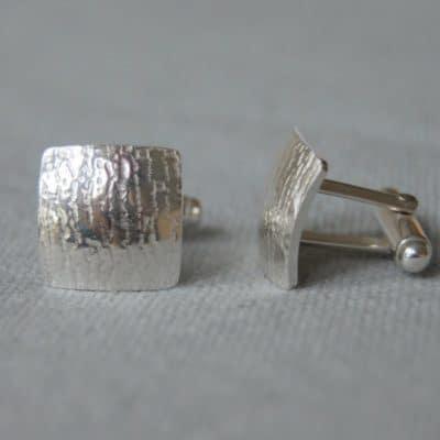 Bark Textured Silver Cufflinks