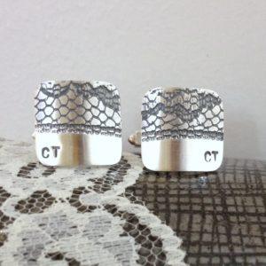 Black Lace Silver Initial Cufflinks