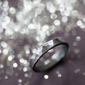 oxidised black hammered ring