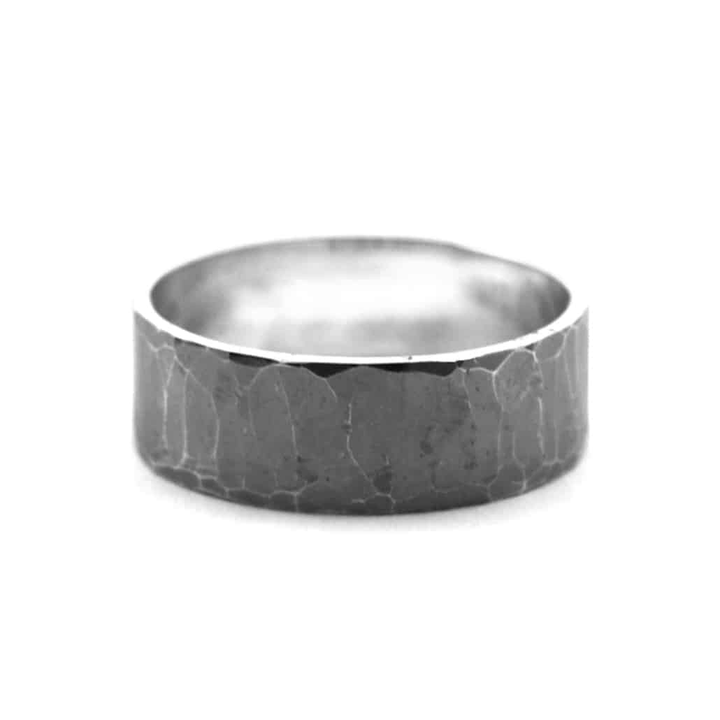 chunky hammered oxidised ring