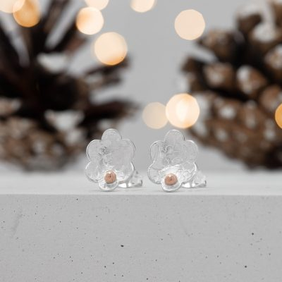 Rose Gold Flower Earrings - Christmas