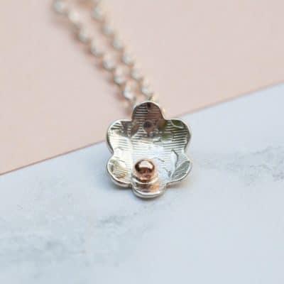 rose gold flower necklace