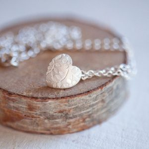 floral small silver heart necklace