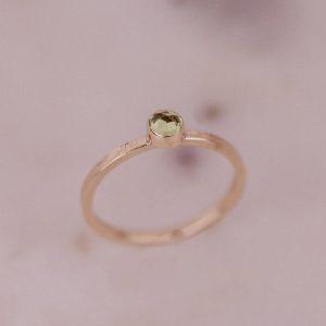 rose cut peridot gold ring