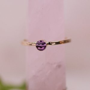 rose cut amethyst gold ring