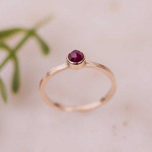 rose cut ruby gold ring