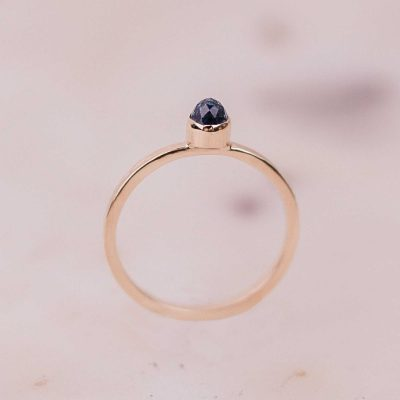 rose cut aquamarine gold ring